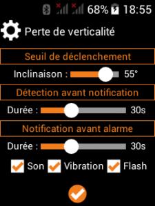 detection perte de verticalité pti mgd application smartphone